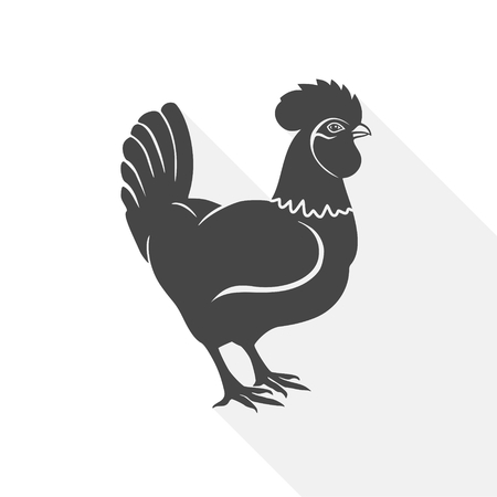 Rooster - vector Illustration with long shadow Illustration