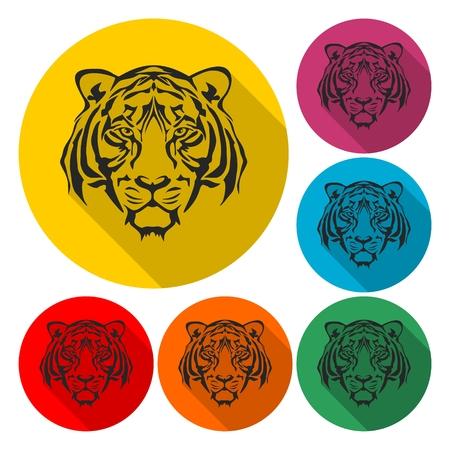 Tiger animal face icon - Illustration