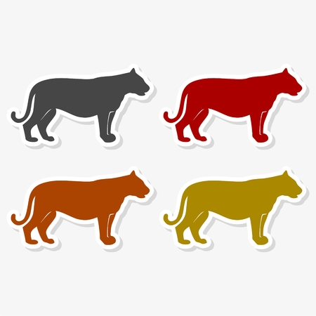 Panther, puma, wild cat icon - Illustration