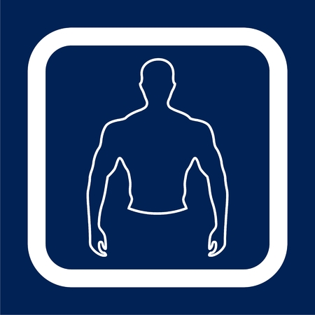 Strong man icon on blue background, vector illustration. Reklamní fotografie - 91105718