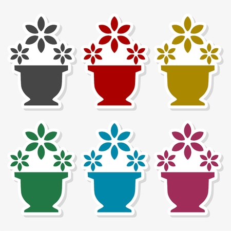 Flower in the vase icon - Illustration
