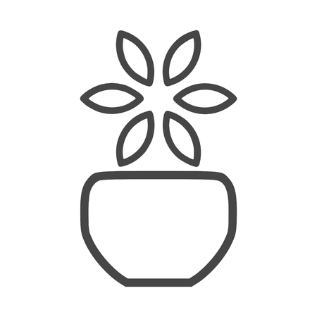 Vase with flower icon illustration.