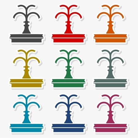 Park fountain icon set Illustration Illustration