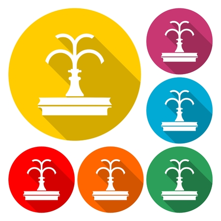 Park fountain icon set Illustration Иллюстрация