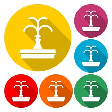 Park fountain icon set Illustration Ilustração