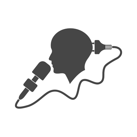 Speaker icon, Man with microphone - Illustration