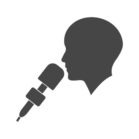 Man with microphone, Speaker icon - Illustration