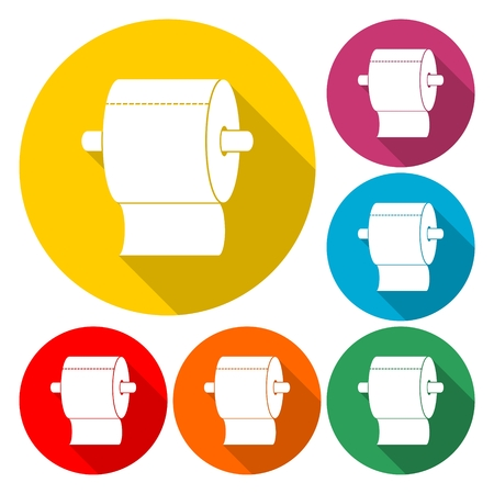 Roll of Toilet Paper Icon Flat Graphic Design - Illustration
