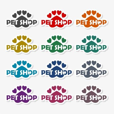 Emblem design set for pet shops Illustration