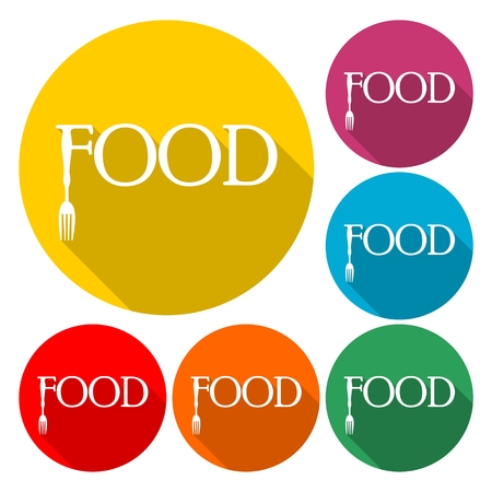 Food vector icon in round color background. Ilustrace