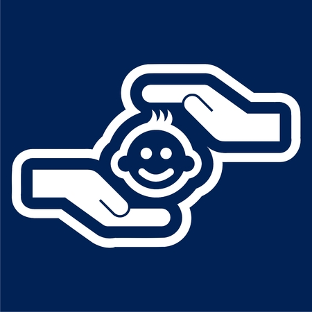 Icon of child care - Illustration of hands with baby