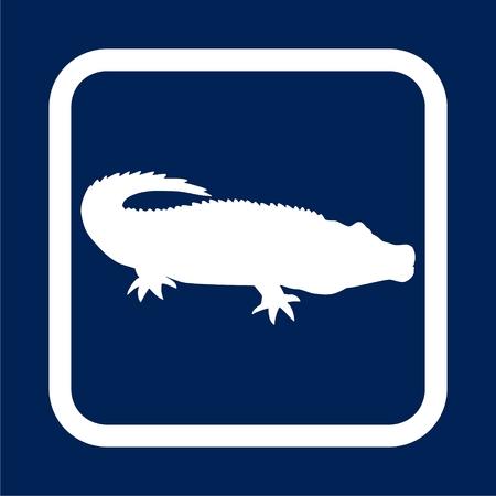 Crocodile silhouette in blue background - Illustration