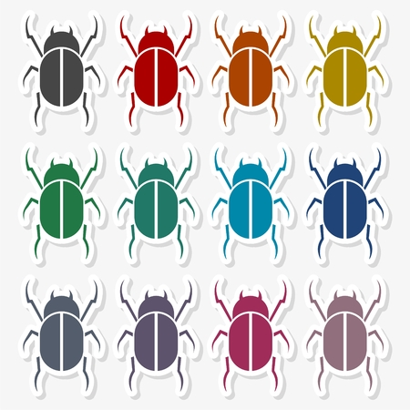 昆虫のシルエット - イラスト  イラスト・ベクター素材