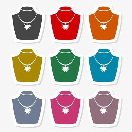 Necklace flat icon Illustration