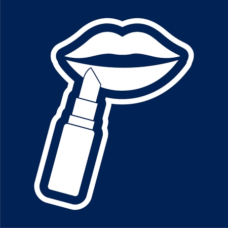 Woman lips with lipstick icon