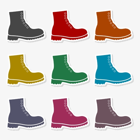 Boots icon in different colors - Illustration. Illustration
