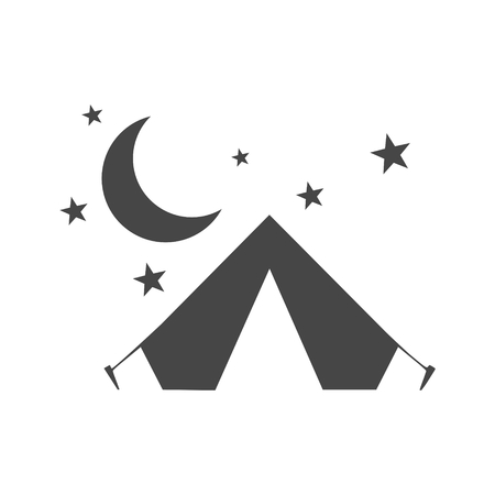Tent icon with moon and stars vector Illustration on white background.