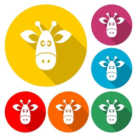 Giraffe face icon, flat animal face icon vector