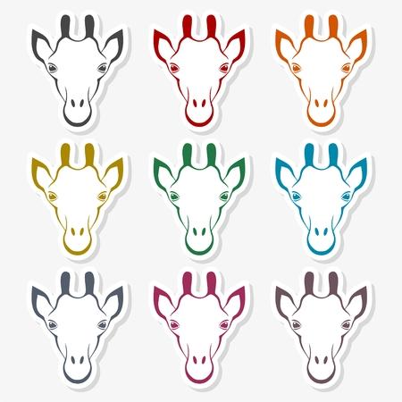 Giraffe face, flat animal face icon vector