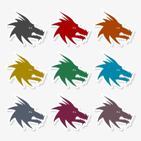 Dragon mascot icon - vector Illustration Illustration