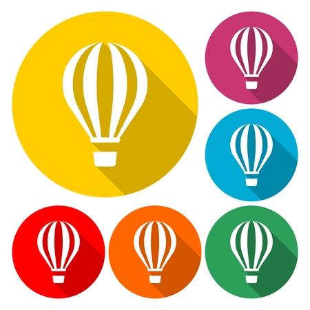 Hot Air Balloons Flying - Illustration