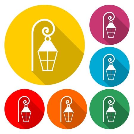 Street lamp silhouette vector - Illustration