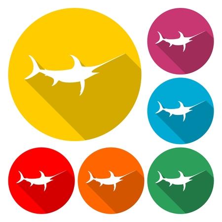 Sailfish icon saltwater fish - vector Illustration