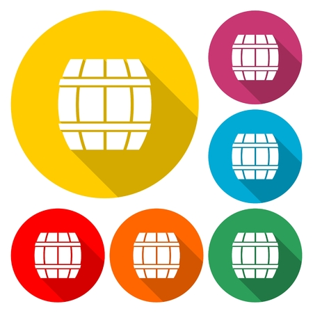 Simple Wooden Barrel icon Vector - Illustration.