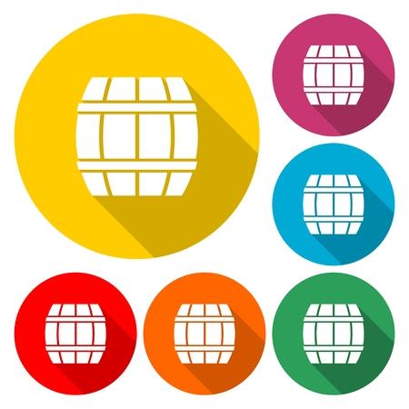 Simple Wooden Barrel icon Vector - Illustration.