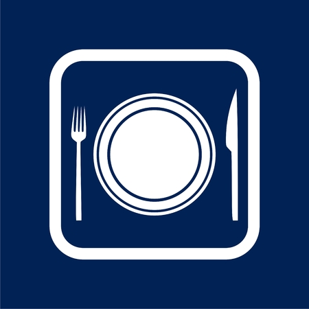 Cutlery Icons on blue background with border - vector illustration.