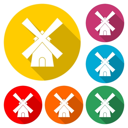 Traditional old windmill icon 일러스트