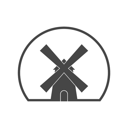 Traditional old windmill building icon 일러스트