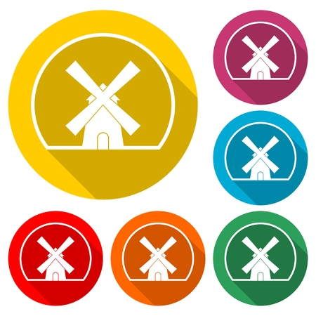Traditional old windmill colorful icon set. 向量圖像