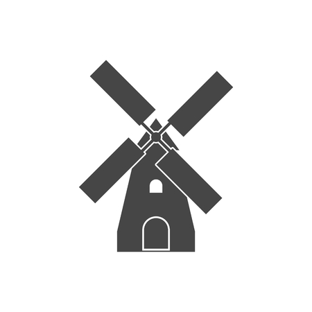Traditional old windmill icon. Illustration
