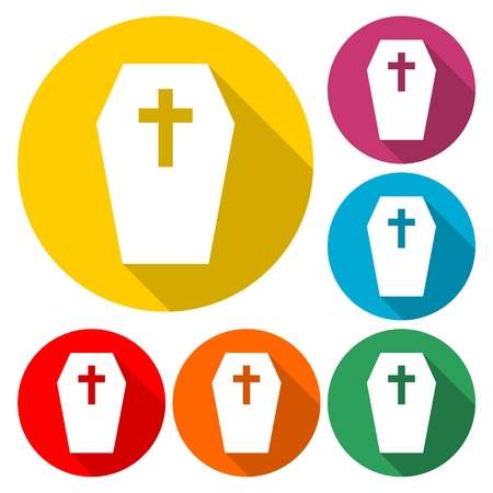 Casket and cross icon set flat illustration graphic design. Illustration