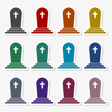 Tombstone icon, gravestone icon - vector illustration.