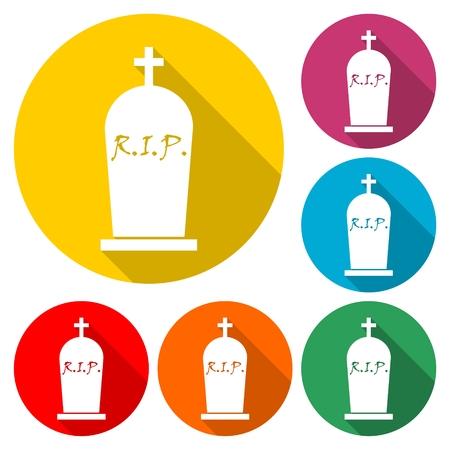 Gravestone circle Icon in multi-color - vector illustration.