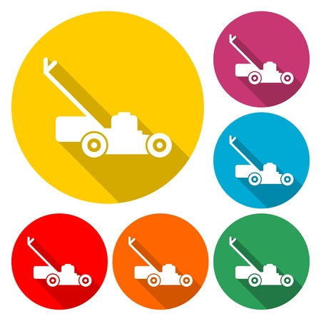 Lawn mower icon vector illustration Illustration