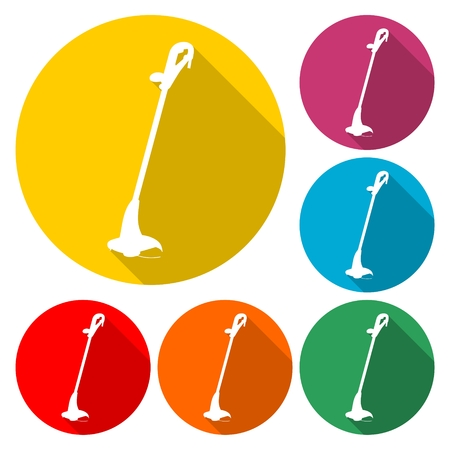 Weed Trimmer Icons on a colored round shape, flat style vector Illustration