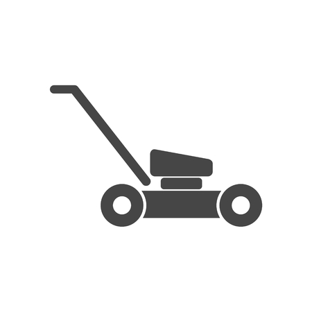 Lawn mower in black silhouette isolated vector illustration