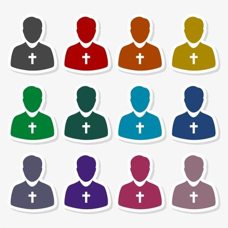 Priest Icon Flat Graphic Design - Illustration. Vectores