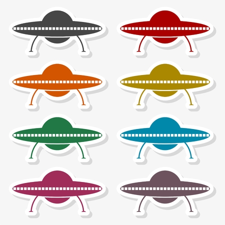 UFO Flying Saucer Icon Vector illustration.