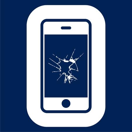 Vector broken Smart phone - Illustration