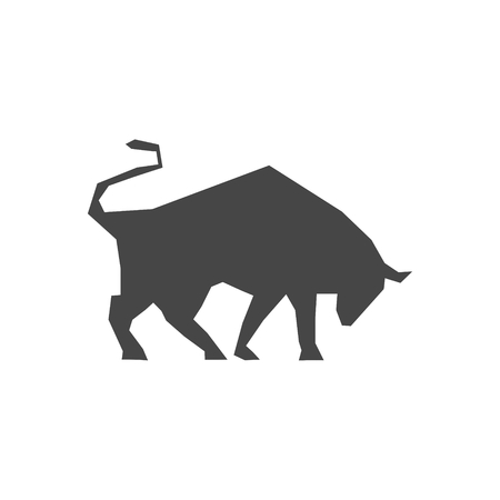 Silhouette of aggressive bull icon - Illustration Illustration