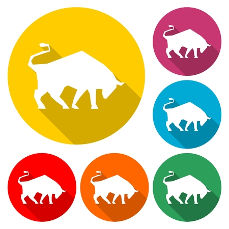 Silhouette of aggressive bull icon - Illustration  イラスト・ベクター素材