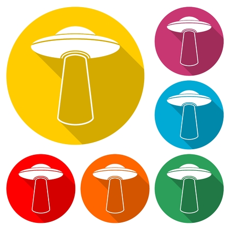 UFO icon in multi-color circle. Vector illustration.