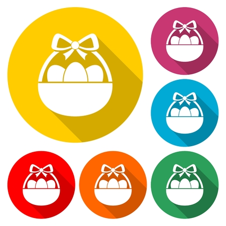 Easter basket on colorful round button vector illustration