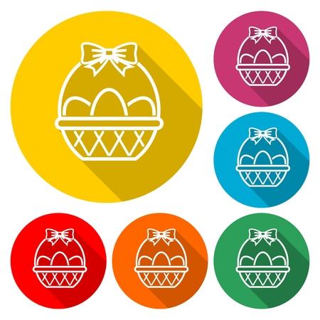 Basket with eggs icon Ilustração