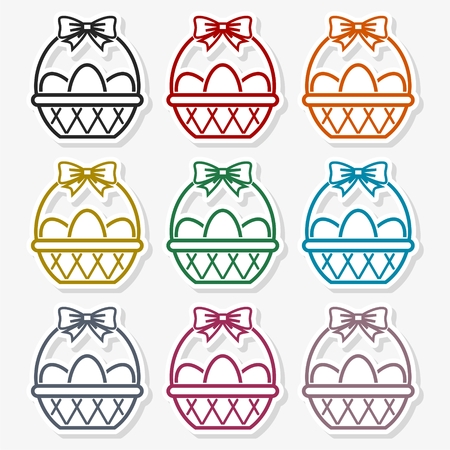 Basket with eggs icon - Vector Illustration Stock fotó - 96527245