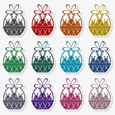 Basket with Easter eggs vector illustration set